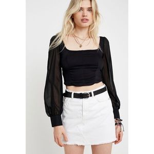 Urban Outfitters Lena Sheer Puff Sleeve Blouse